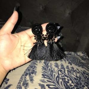 Beautiful elegant black tassel earrings